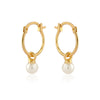 Gold Hoop Earrings with Removable Black Enamel Balls