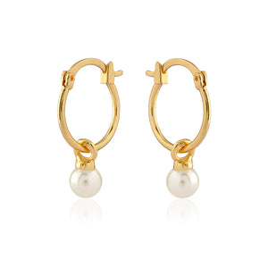 Hoop Earrings with Removable cream Enamel Balls