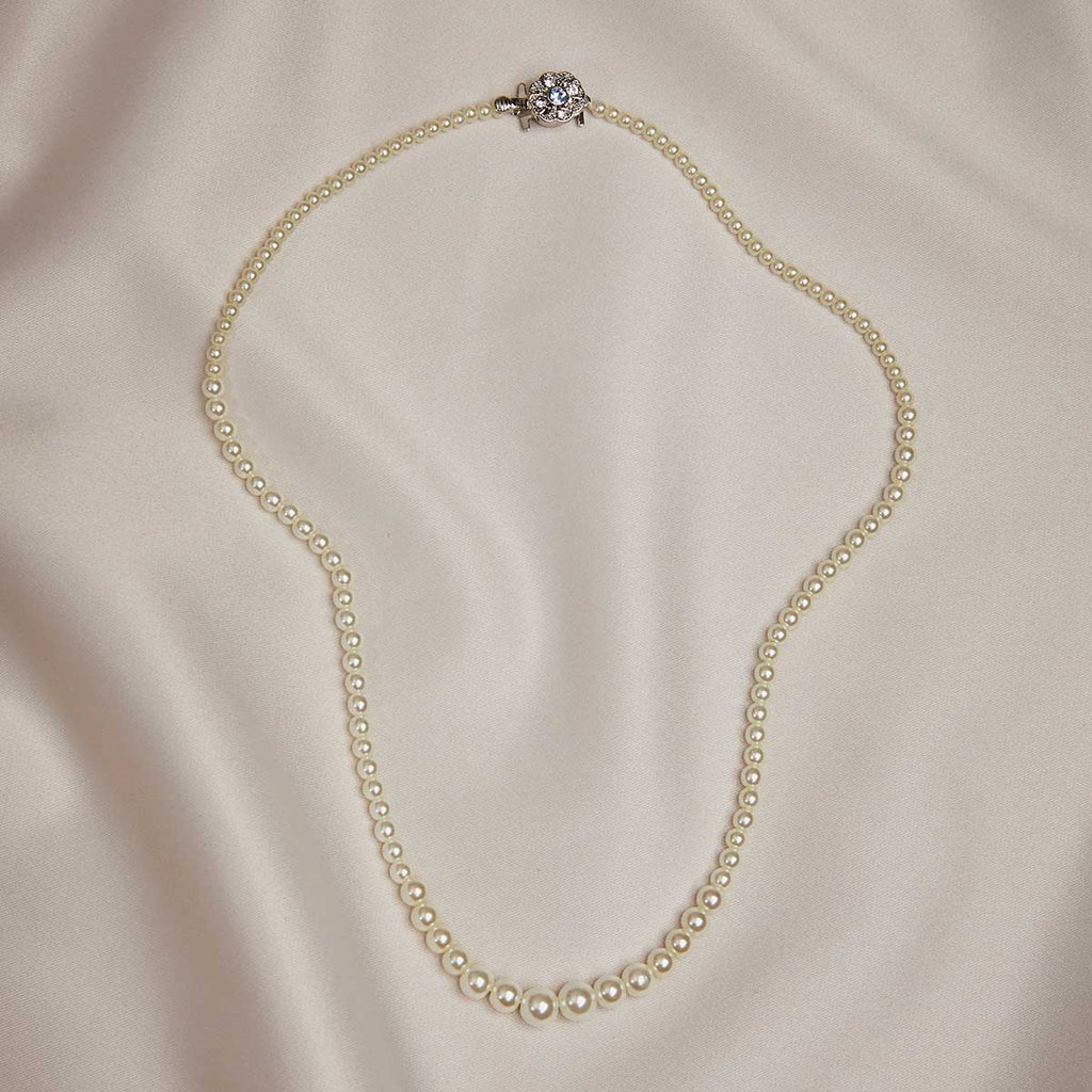 1950s Vintage Inspired Graduated Pearl Necklace with Crystal Encrusted Clasp by Lovett and Co