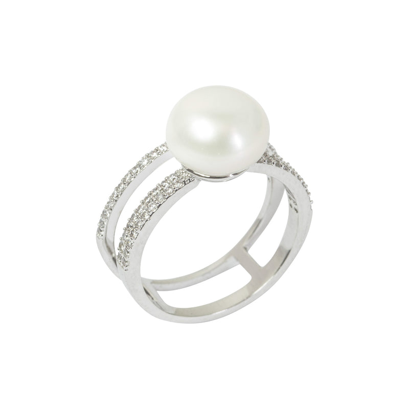 2 Row Ring With Pearl