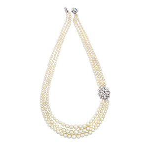 3 Row Pearl Necklace with genuine Czech Crystal