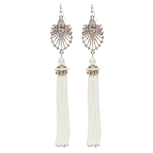 Art Deco 20s Cream Tassel Long Drop Earrings by Lovett and Co