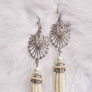 Art Deco 20s Flapper Girl Cream Tassel Long Drop Earrings by Lovett and Co