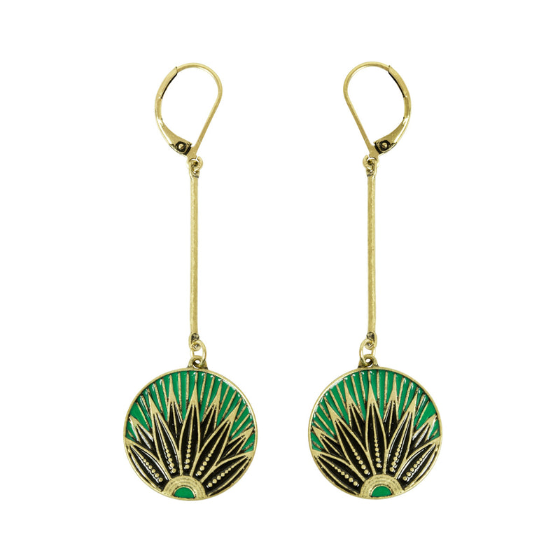 Art Deco 20s Vintage inspired leaf print disc drop earrings in emerald green by Lovett and Co