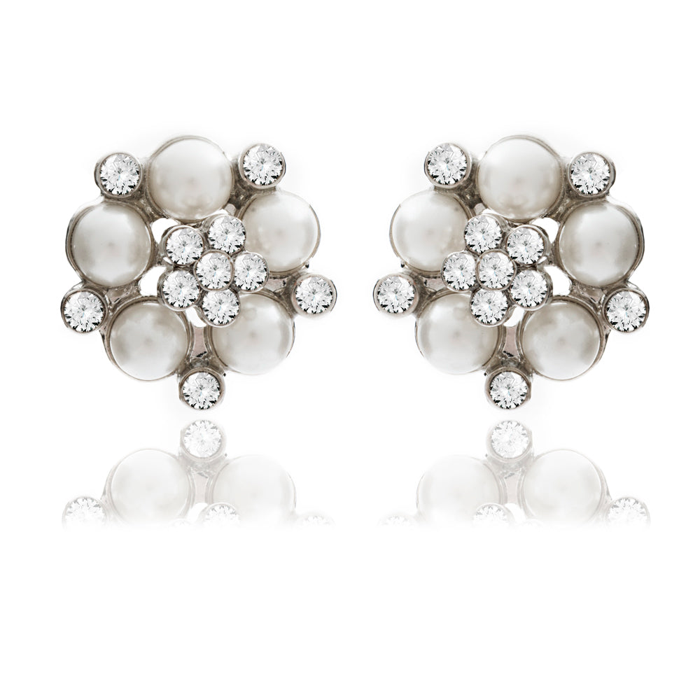 Audrey Hepburn Pearl and Diamante Stud Earrings by Lovett and Co