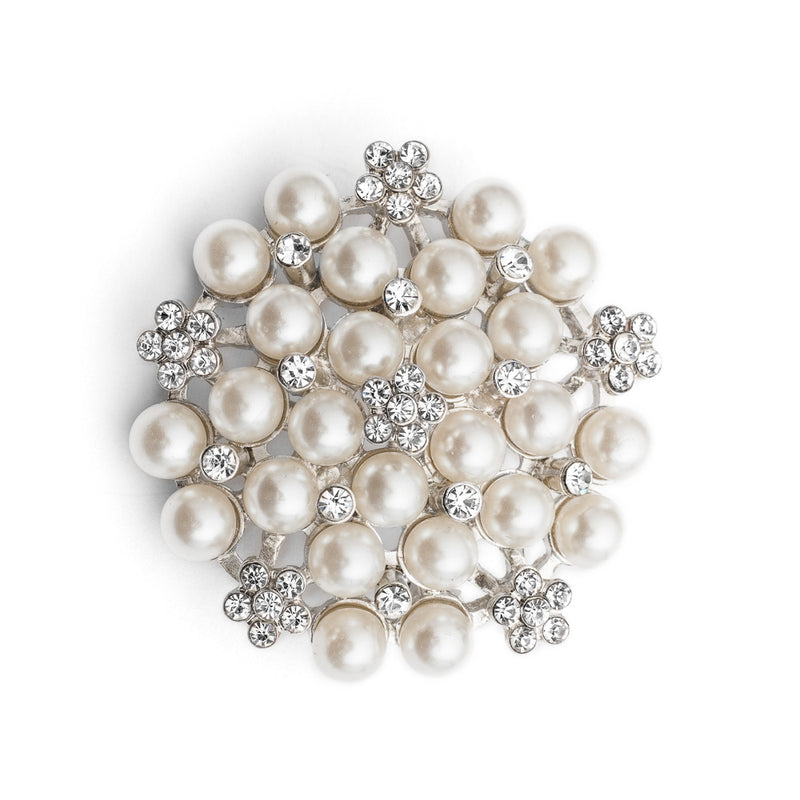 Picture of audrey hepburn inspired crystal and pearl brooch, ideal for vintage loving brides