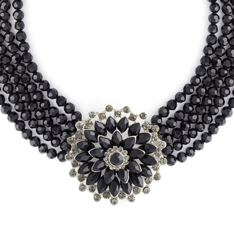 Picture of Audrey Jet Flower Necklace