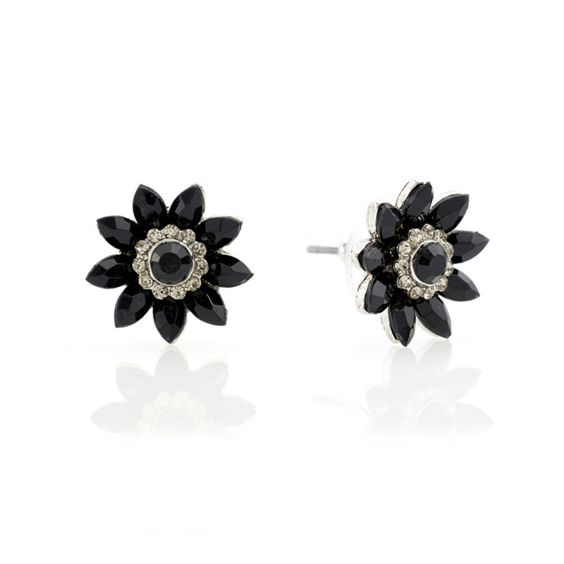 Audrey Jet Flower Stud Earrings
