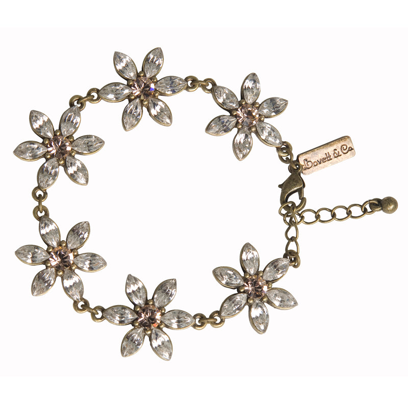 Daisy Flower Bracelet with Swarovski Crystals