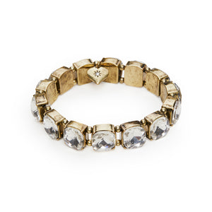 Image of vinatge style elasticated cushion cut crystal bracelet