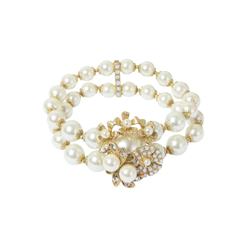 Image of 1950s style pearl stretch bracelet inspired from the legendary designer Miriam hasklell
