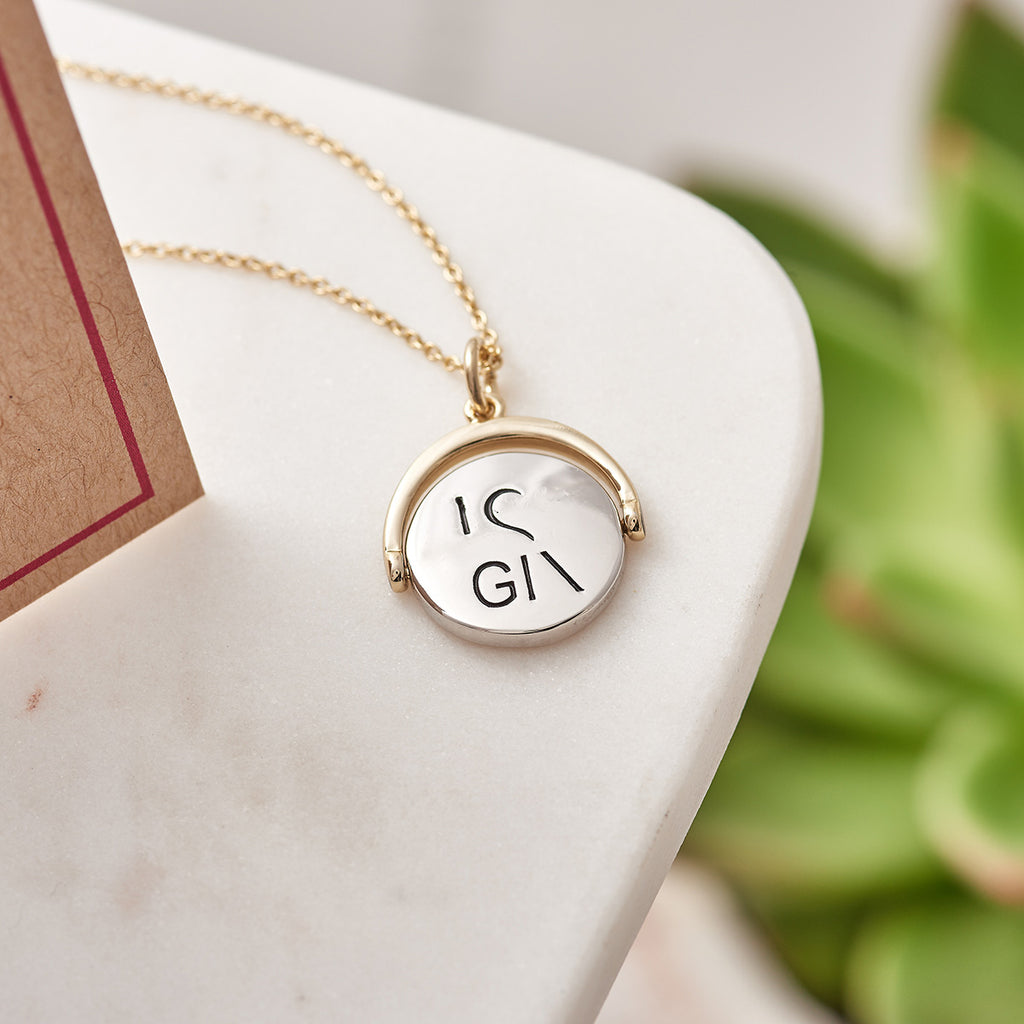 Picture of Rhodium Plated 'I Love Gin' Spinning Charm Necklace with Card