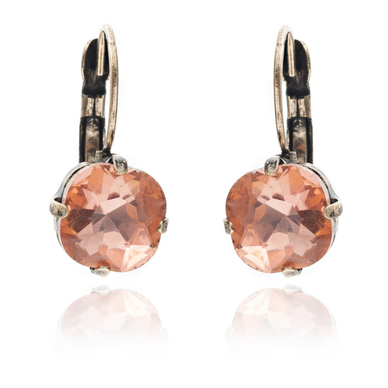 Vintage inspired peach cushion cut style drop earring is suited for all occasions and outfit. Its handmade, hypoallergic and nickel free