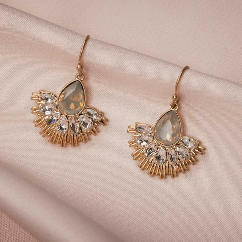 Crystal Fan Earring (Sand Opal)