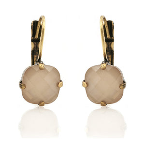 Vintage inspired cream cushion cut style drop earring is suited for all occasions and outfit. Its handmade, hypoallergic and nickel free