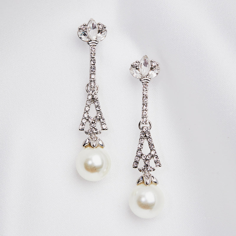 Deco Vintage Eiffel Tower Design Crystal and Pearl earrings by Lovett and Co