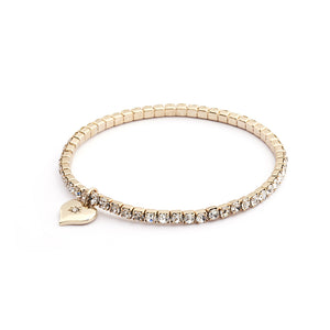 Diamante Stretch Bracelet Gold Plating