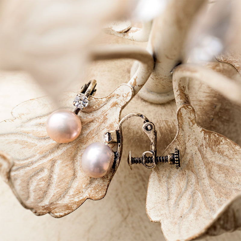 Picture of Clip On Pearl Earrings With Diamante Stone (Cream)