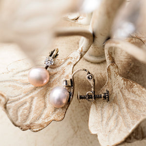 Clip On Pearl Earrings With Diamante Stone