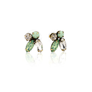 Diamante 1950s Pacific Opal Cluster Earrings