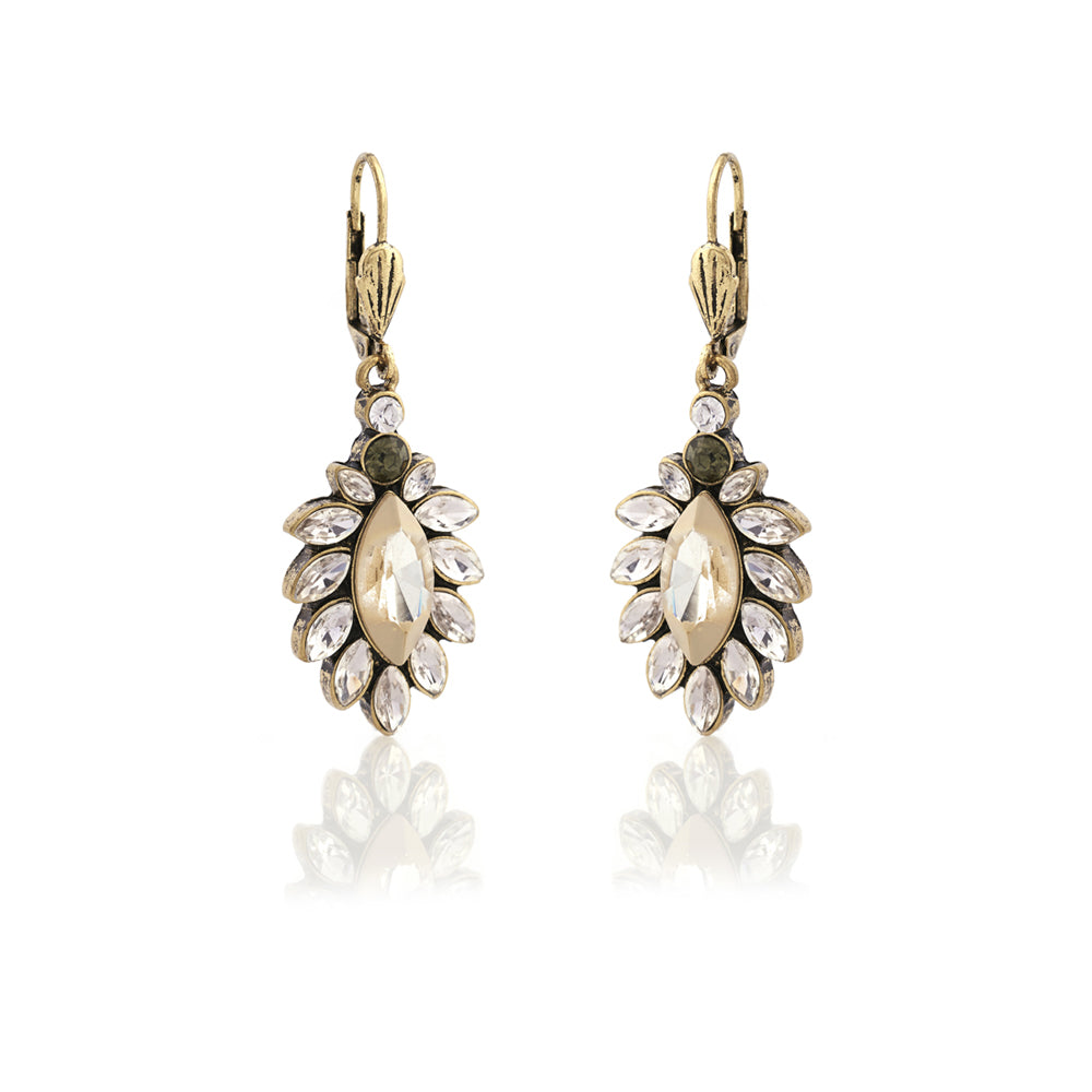 Picture of Diamante 1950s White Opal Drop Earrings