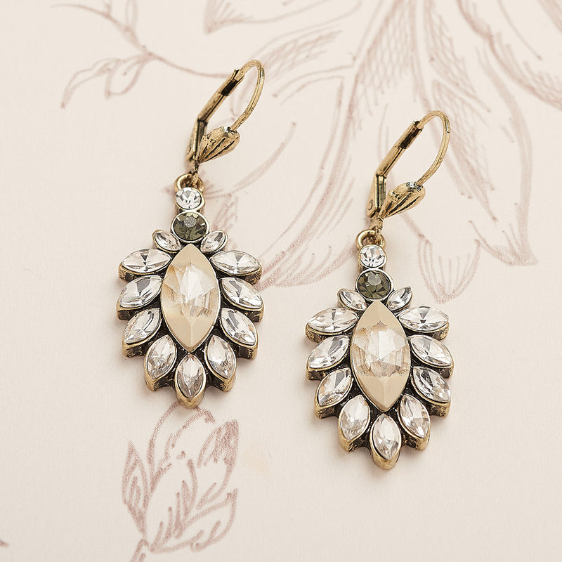 Diamante 1950s White Opal Drop Earrings