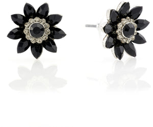 Audrey Jet Flower Necklace & Audrey Jet Flower Stud Earrings with FREE Gift Box