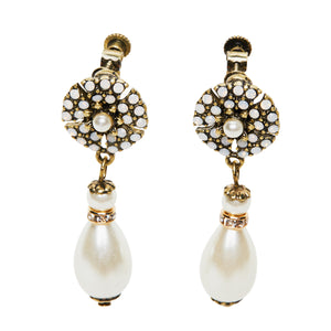 Unique Clip on Pearl Drop earring inspired by famous designer Miriam Haskell. This unique piece is perfect for brides who love vintage jewellery.