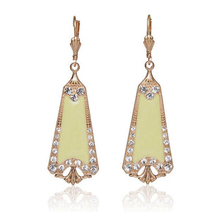 Enamel & crystal art deco drop earrings