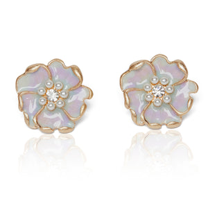 Enamel flower stud earrings