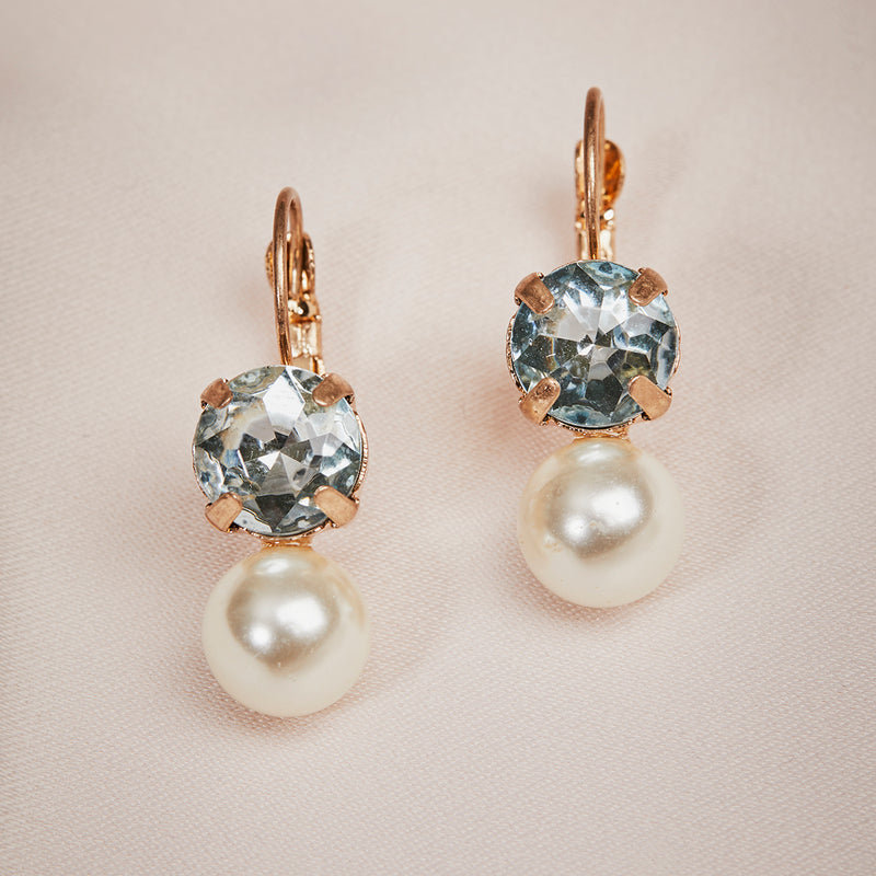 Pearl and square crystal earrings
