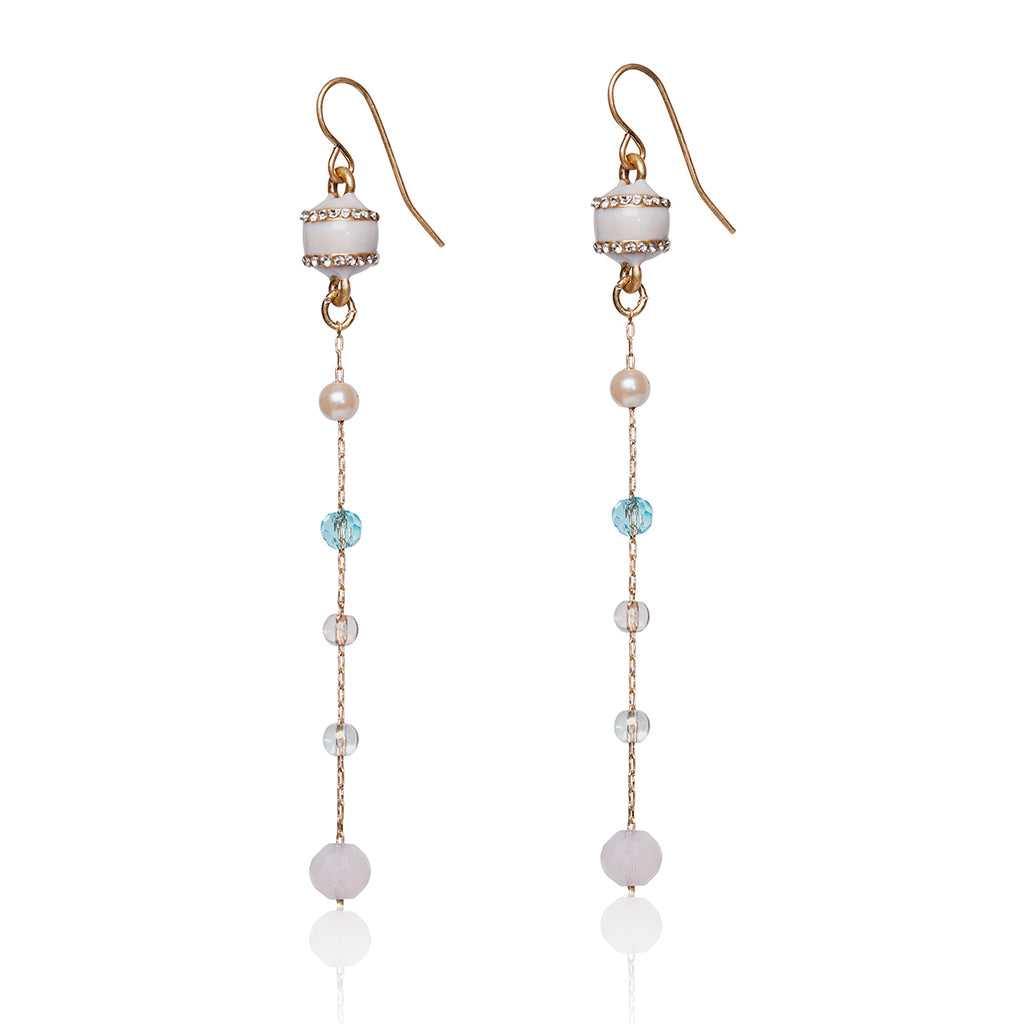 Multi mixed stone drop earring