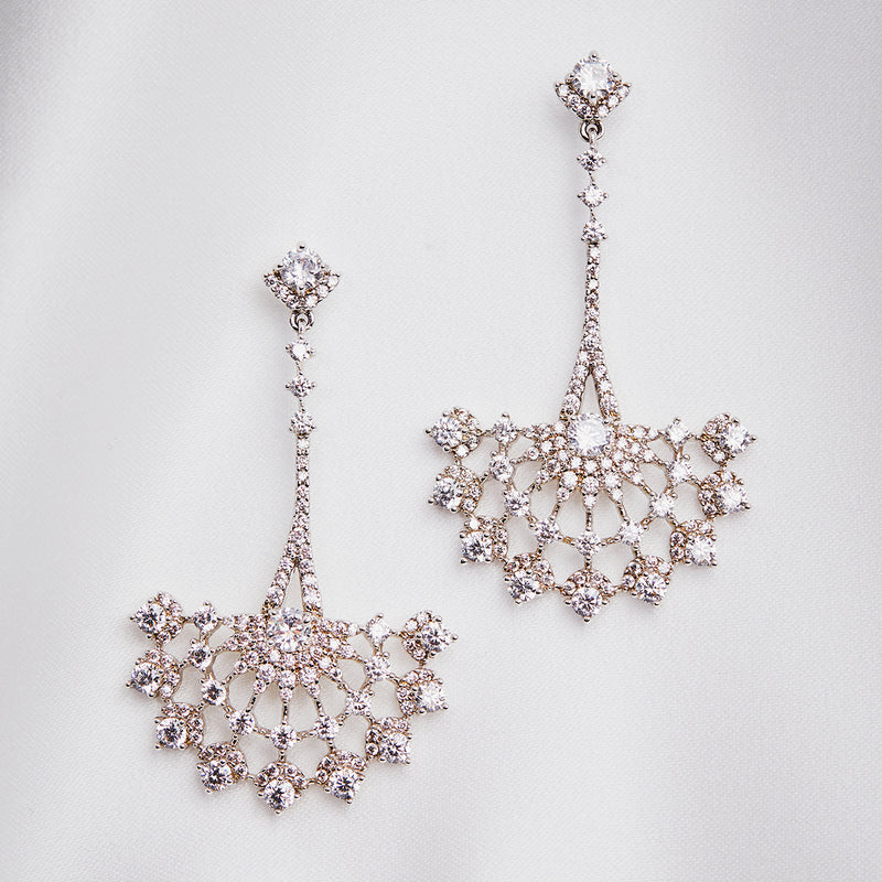 Crystal Fan Long Drop Earring