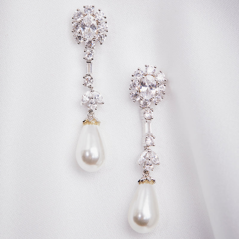 Crystal and Teardrop Pearl drop Earring