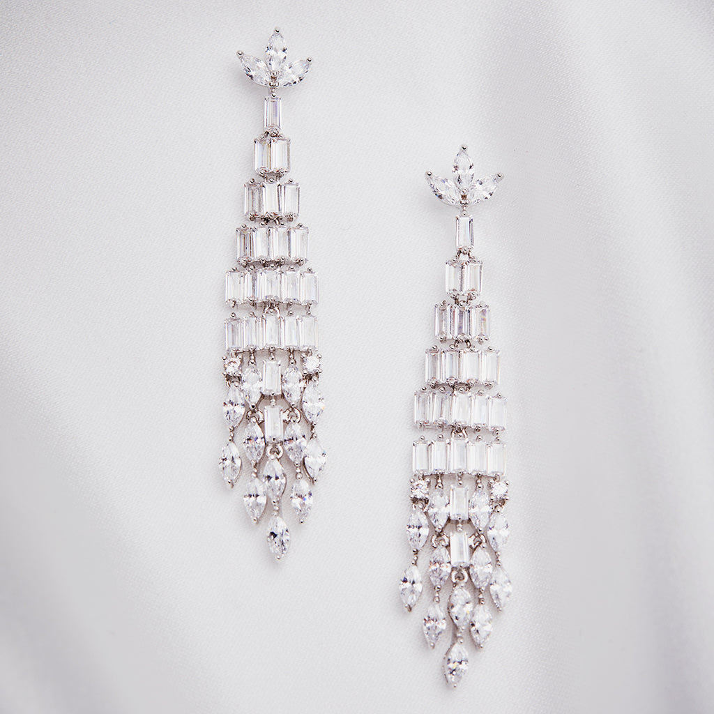 Art Deco Crystal Baguette Chandelier Earring