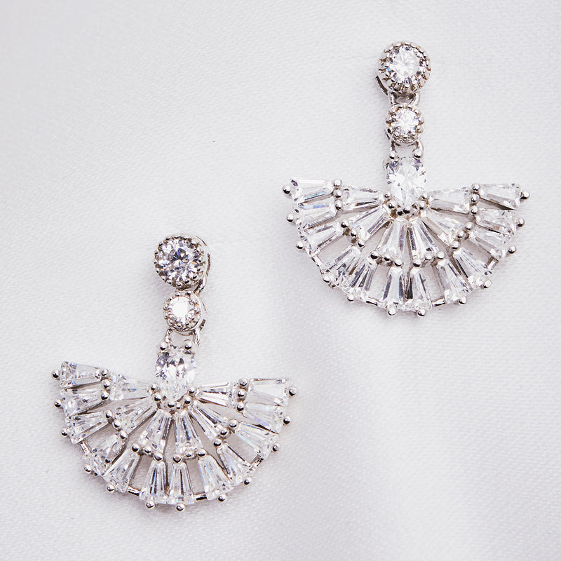 Image of 1920's inspired vintage bridal crystal short drop earrings in fan shape. Ideal gift for her on any special occasion and best suited for vintage brides