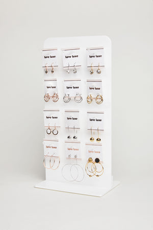 White Love Luxe earring stand with removable hooks TALL