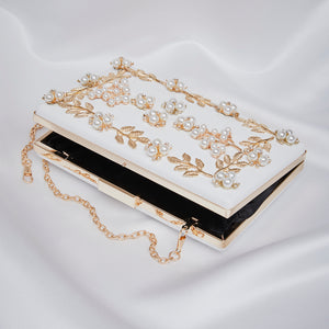 Gold vine and pearl box bag
