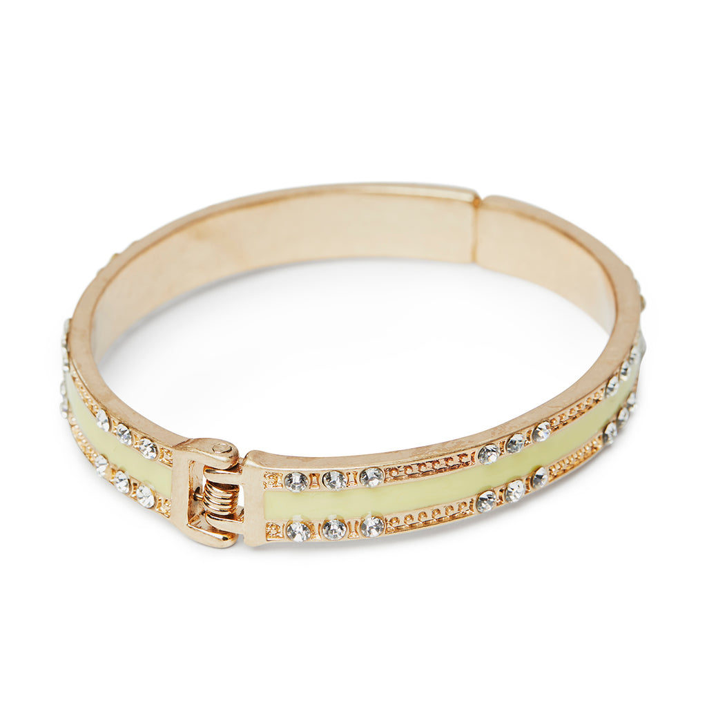 Yellow vintage style bangle with crystals