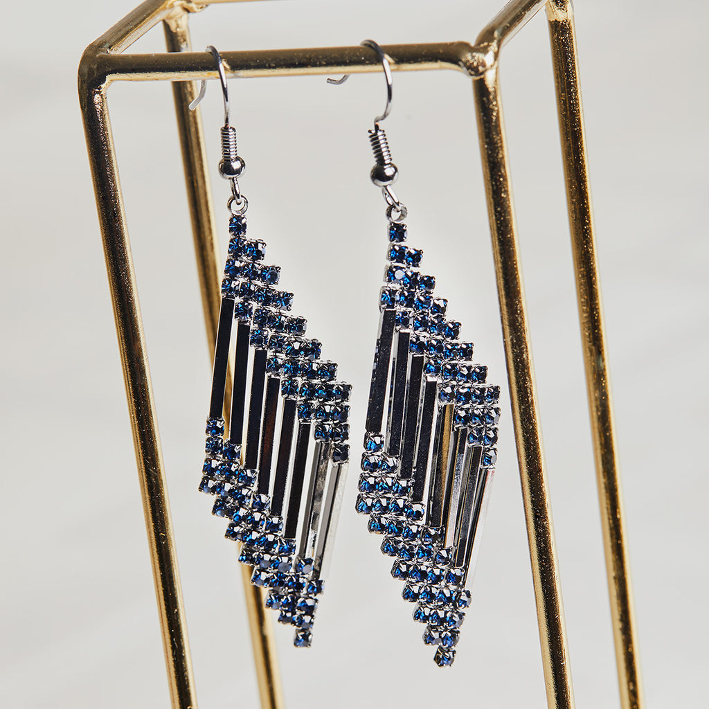 Image of vintage style 1920 inspired long drop crystal earrings in blue colour