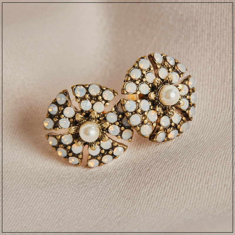 Miriam Haskell Inspired Pearl Stud Earrings