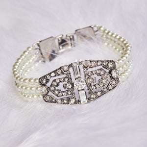 Picture of 1920s inspired vintage style bridal bracelet of pearls and crystals