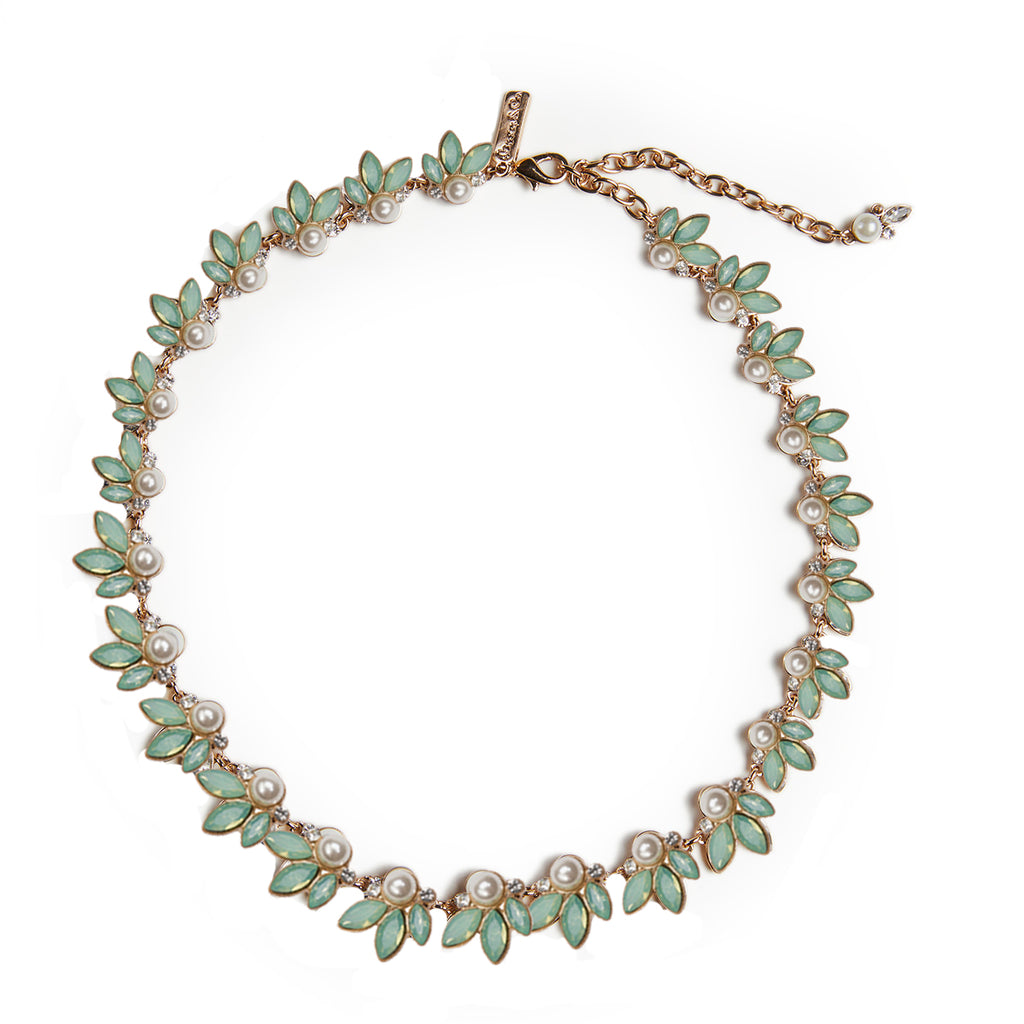 Leaf & Pearl Necklace (Pacific Opal)