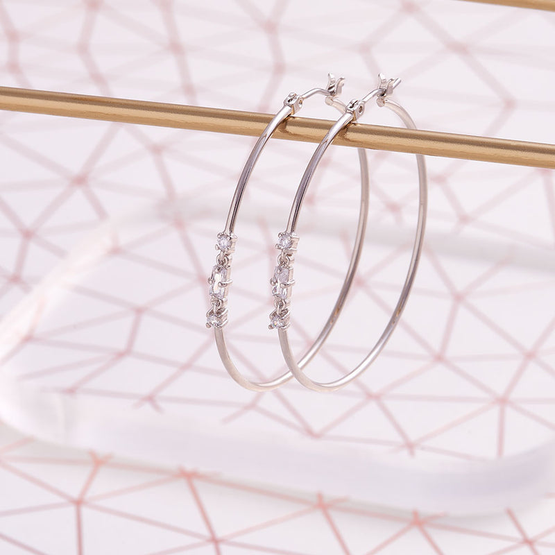 Image of gold plated contemporary style hoop earrings perfect for daily wear