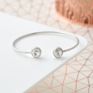 Open Bangle With Crystal Stones