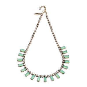 1950s style milk stone necklace in light green colour with crystal and brass plating suited for weddings and adds vintage twist to any outfit. Shop at affordable price