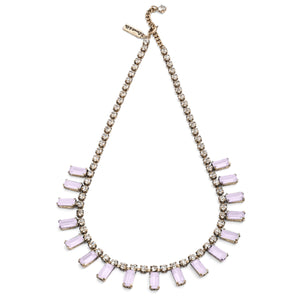 1950s style crystal necklace in pink  colour in brass plating is suitable for any occasion at affordable price