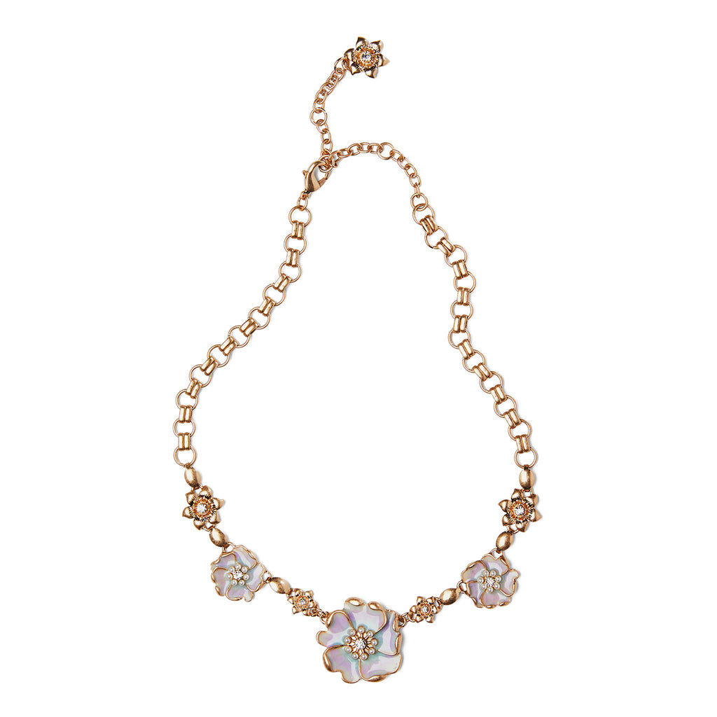 Enamel flower short necklace