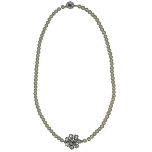 Crystal Flower Pearl Necklace