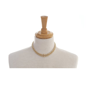 Picture of 2 Row Vintage Pearl Necklace with Diamante Clasp Vintage Cream